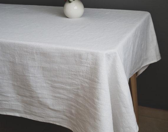 Stolnjak od lana bijele boje
