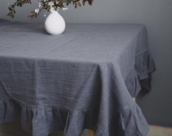 Stolnjak od lana sivi