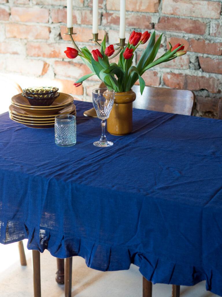 Stolnjak od lana plavi